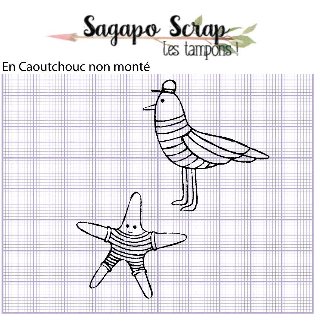 Tampons animaux en marinière Sagapo Scrap