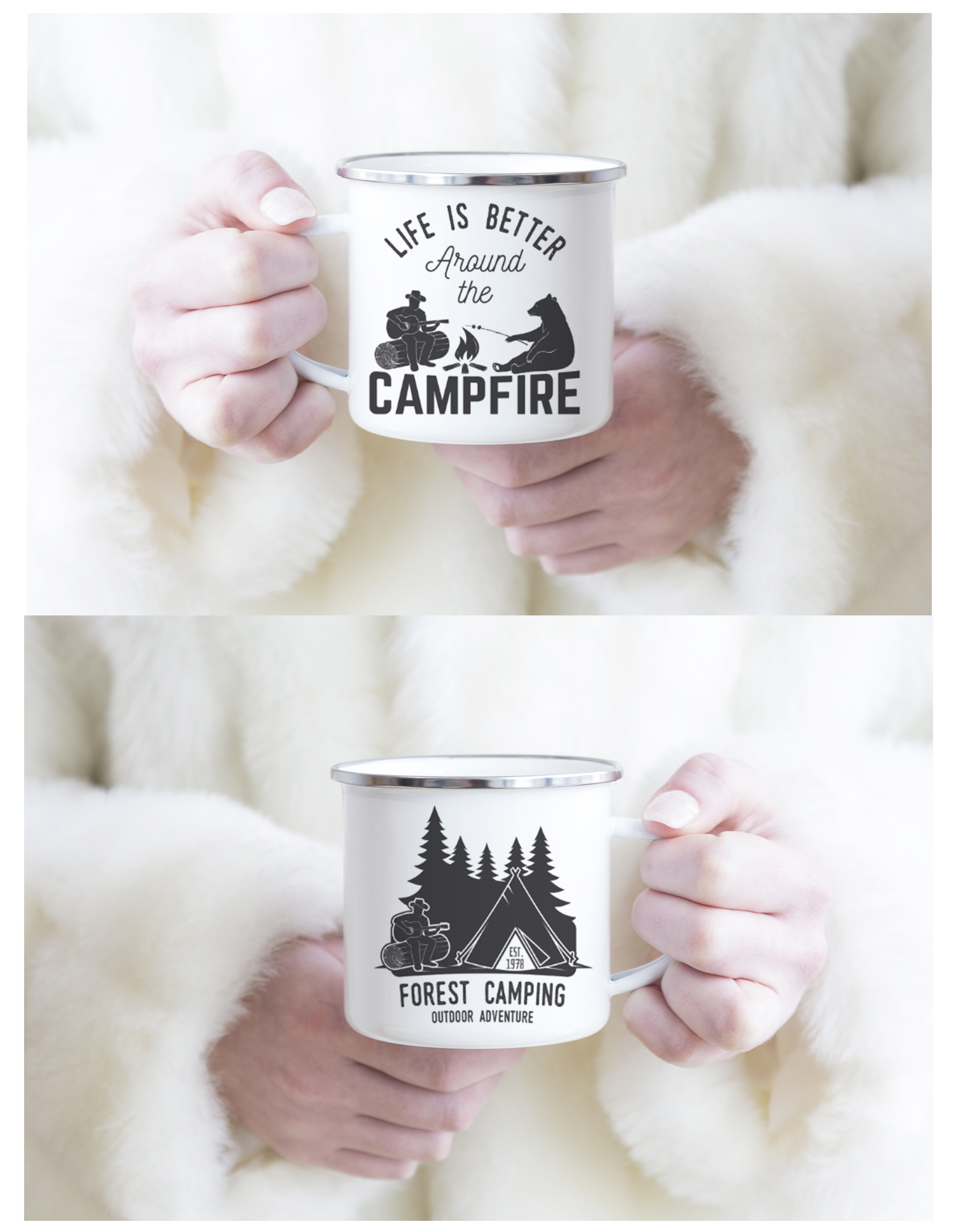 mug emaill vintage camping campfire 2 faces diff rentes sagaposcrap. Black Bedroom Furniture Sets. Home Design Ideas