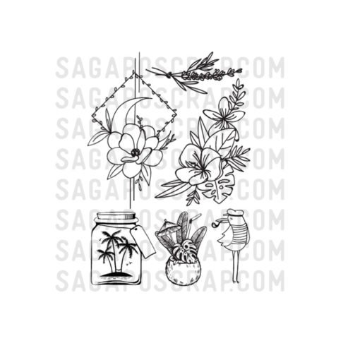 kit tampons juillet-2020 fleurs tropiques