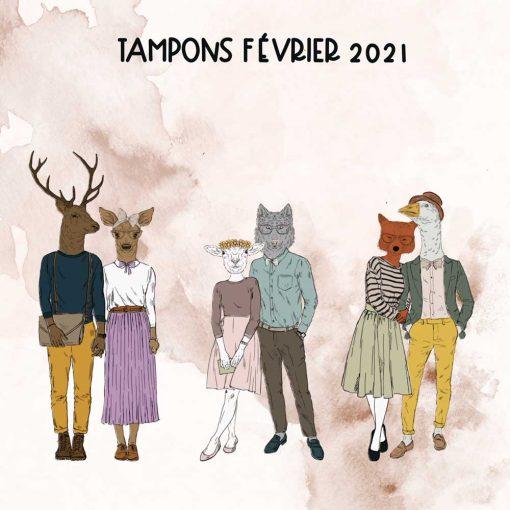 Planche de tampons de Fevrier 2021 – Couple d'animaux hipster