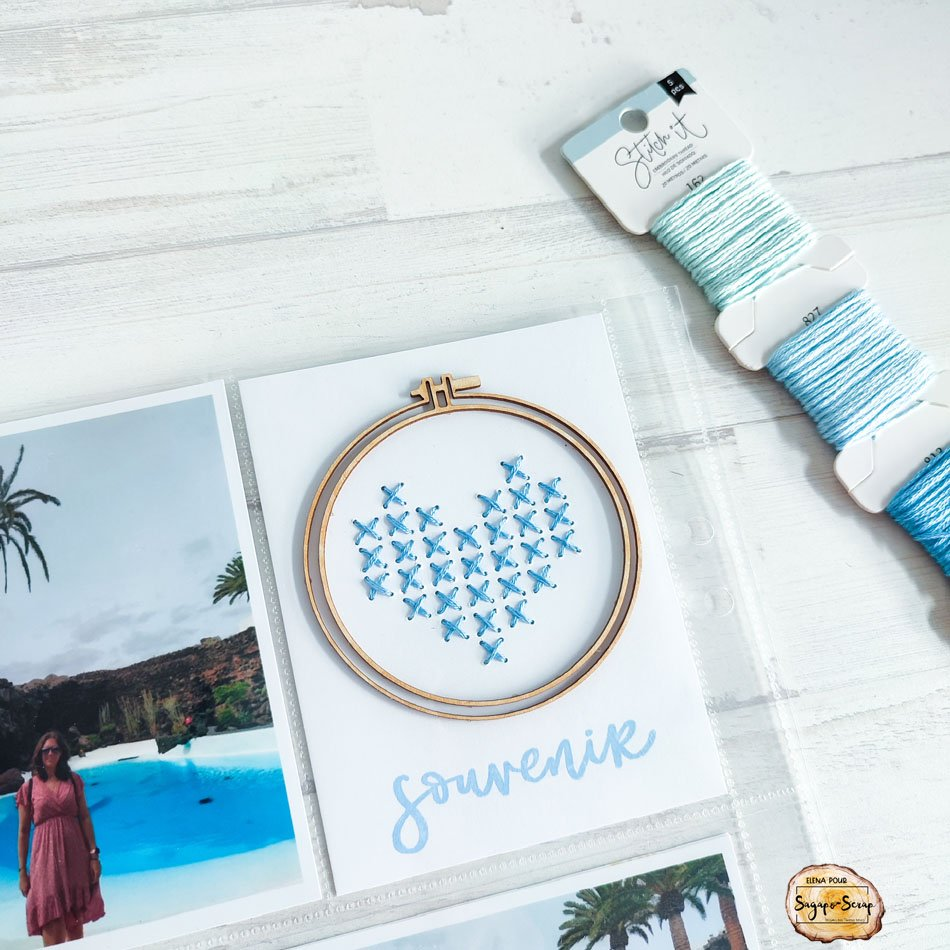 creer cartes projet life broderie