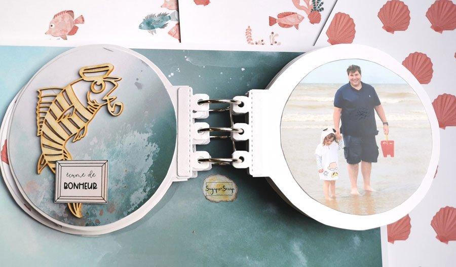 mini album rond sable et soleil poisson marin