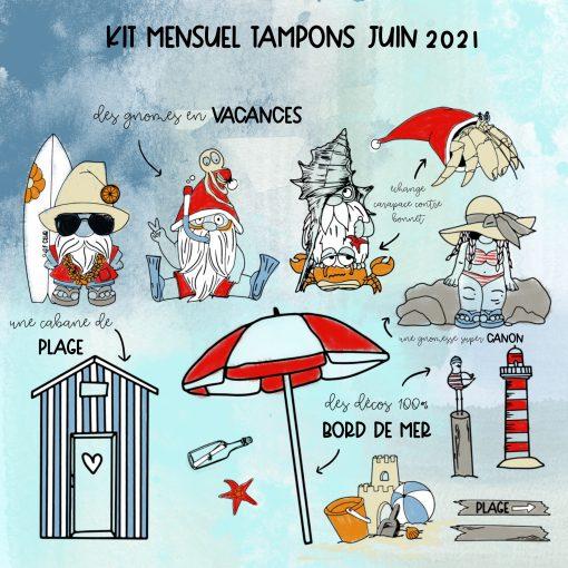Kit tampons Gnomes à la plage juin 2021