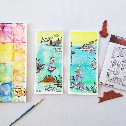 2 slimeline cartes scrap tampon randonnée