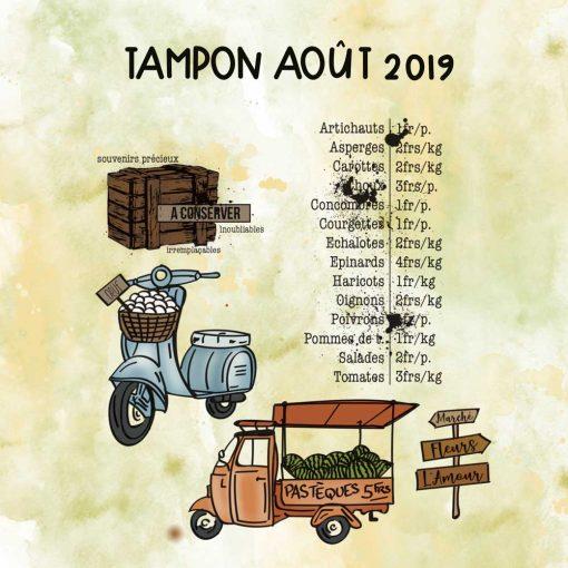 Planche de tampons de AOUT 2019 – Marché vintage