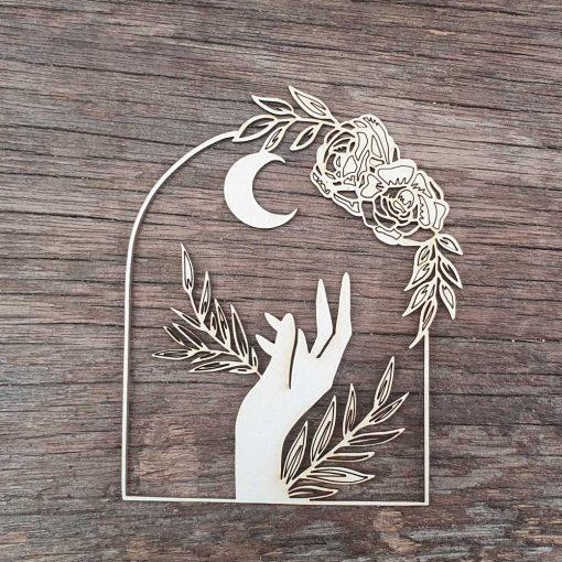 Carton-bois-fenêtre-bohéme-chic-céleste-lunaire-fleuri