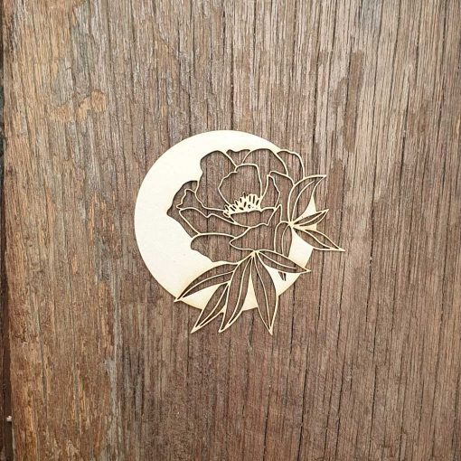 Carton-bois-rond-fleuri-rose