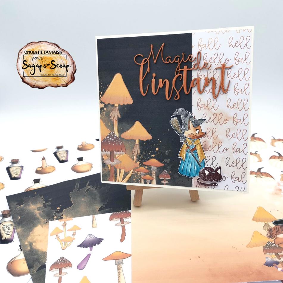 carte vitrine recto automne magique chouette fantaisie